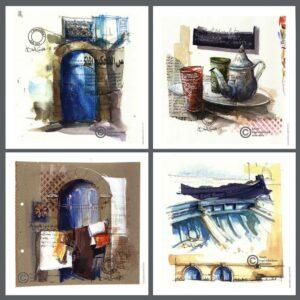 Cartes postales essaouira aquarelle isabelle corcket