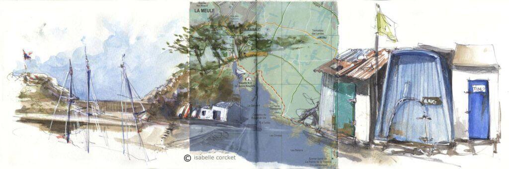 Le port dela meule ile d'YEU aquarelle Isabelle Corcket