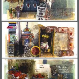 Cartes postales pondicherry aquarelles